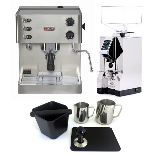 LELIT PL92T ELIZABETH Double Boiler PID Espresso Coffee Machine - EUREKA MIGNON SPECIALITA Coffee Grinder - CHROME - Package - With Accessories