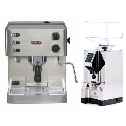 LELIT PL92T ELIZABETH Double Boiler PID Espresso Coffee Machine - EUREKA MIGNON SPECIALITA Coffee Grinder - CHROME - Package