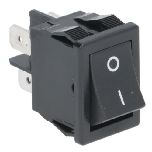 "Black DPST Switch ""I/O"" - 20mm x 13mm - 16A 250V"