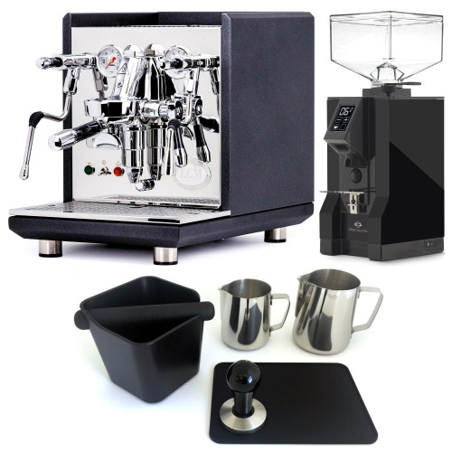 ECM SYNCHRONIKA e61 Double Boiler PID 0.75/2L Espresso Coffee Machine - V2 - BLACK - EUREKA MIGNON SPECIALITA Coffee Grinder - BLACK - Combo - With Accessory Package