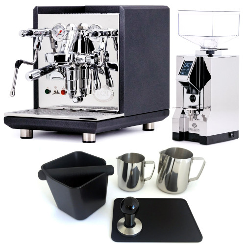 ECM SYNCHRONIKA e61 Double Boiler PID 0.75/2L Espresso Coffee Machine - V2 - BLACK - EUREKA MIGNON SPECIALITA Coffee Grinder - CHROME - Combo - With Accessory Package