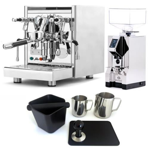 ECM TECHNIKA V e61 PID 2.1L Espresso Coffee Machine - EUREKA MIGNON SPECIALITA Coffee Grinder - CHROME - Combo - With Accessory Package