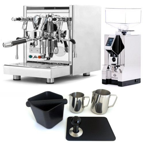 ECM TECHNIKA V e61 PID 2.1L Espresso Coffee Machine - EUREKA MIGNON SPECIALITA Coffee Grinder - CHROME - Combo - With Accessory Package