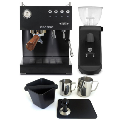ASCASO STEEL DUO Double Boiler PID Espresso Coffee Machine - BLACK - ASCASO I-MINI I-1 Coffee Grinder - BLACK - Combo - With Accessory Package