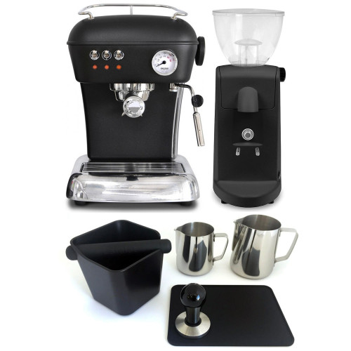 ASCASO DREAM Espresso Coffee Machine - ASCASO I-MINI I-1 Coffee Grinder - BLACK - Combo - With Accessory Package