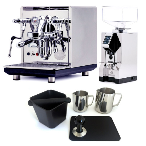 ECM SYNCHRONIKA e61 Double Boiler PID 0.75/2L Espresso Coffee Machine - V3 - STAINLESS STEEL - EUREKA MIGNON SPECIALITA Coffee Grinder - CHROME - Package - With Accessories