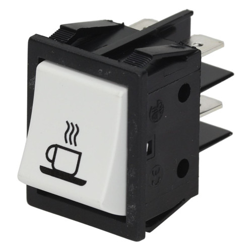 """White DPST Switch """"COFFEE"""" - 30mm x 22mm - 16A 250V - GENUINE - MARZOCCO L285/1"""