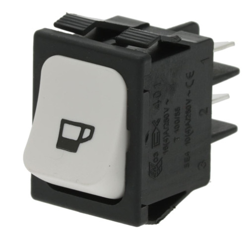 "White DPST Switch ""COFFEE"" - 30mm x 22mm - 16A 250V"