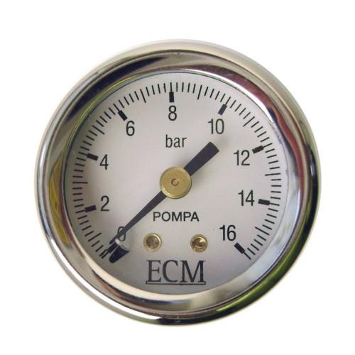 "Pump Pressure Gauge / Manometer - 0-16 BAR - OD 44mm Hole 39mm 1/8"" BSPM - ECM B7432517"