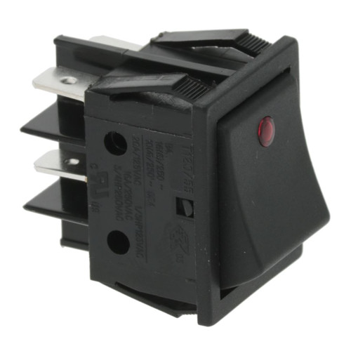 Black DPST Switch Red Lamp - 30mm x 22mm - 16A 250V