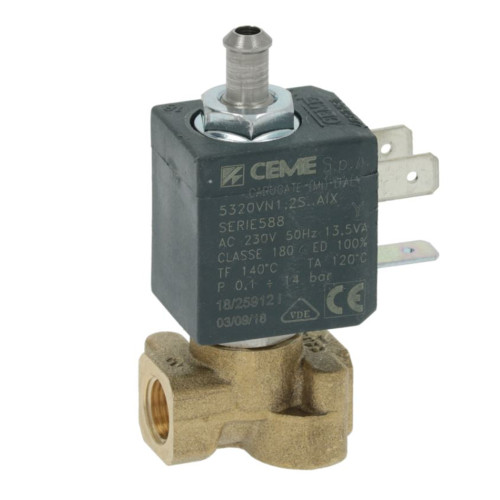 "3-Way Electric Solenoid Valve 1/8"" BSPF - 7mm barbed outlet - 230V - 13.5VA - CEME"