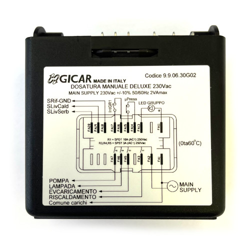 Control Box - Water Level Auto-fill Regulator - 230Vac - DOS MANUALE DELUXE - GICAR 9.9.06.30G02