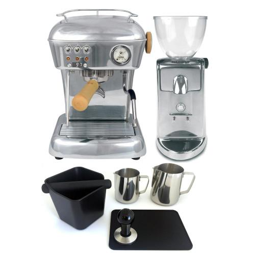 ASCASO DREAM PID Espresso Coffee Machine - ASCASO I-MINI Doser-less Coffee Grinder - POLISHED ALUMINIUM - Combo - With Accessory Package