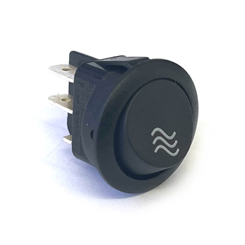 "Black Circular DPST Momentary Switch - ""BOILER FILL"" - Hole 21mm - 250V 10A"