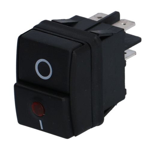 "Black Switch Press ""I / O"" - Red Lamp - 30mm x 22mm - 16A 250V"