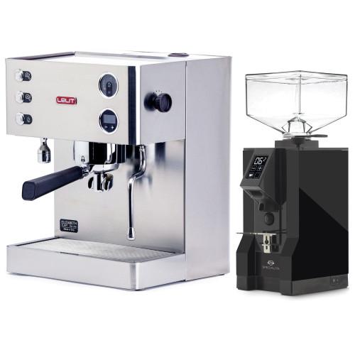 LELIT PL92T ELIZABETH Double Boiler PID Espresso Coffee Machine - V3 - EUREKA MIGNON SPECIALITA Coffee Grinder - Black - Combo