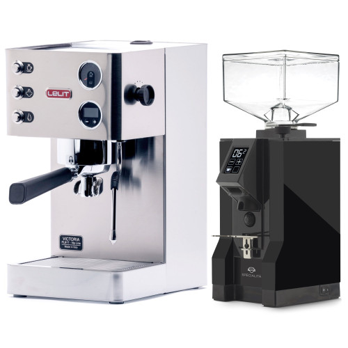 LELIT PL91T VICTORIA PID Espresso Coffee Machine - EUREKA MIGNON SPECIALITA Coffee Grinder - BLACK - Package