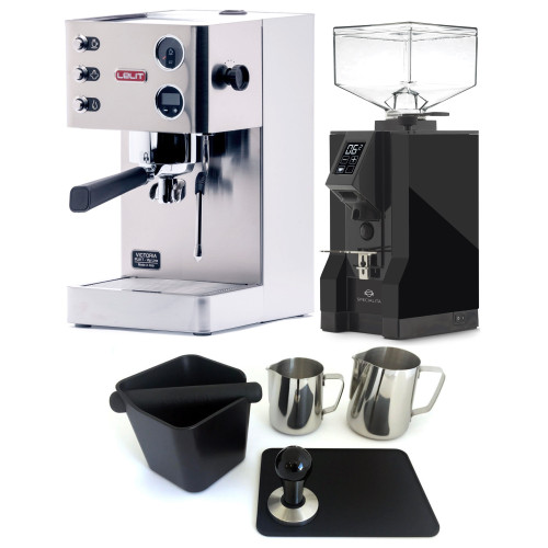 LELIT PL91T VICTORIA PID Espresso Coffee Machine - EUREKA MIGNON SPECIALITA Coffee Grinder - BLACK - Package - With Accessories