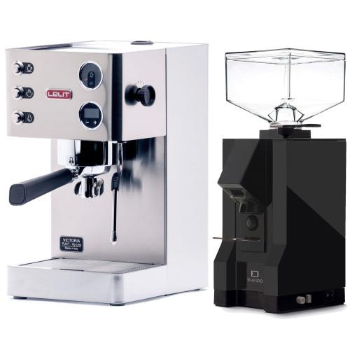 LELIT PL91T VICTORIA PID Espresso Coffee Machine - EUREKA MIGNON SILENZIO Coffee Grinder - BLACK - Package - With Accessories