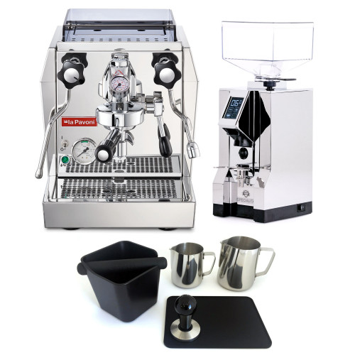 PAVONI GIOTTO PREMIUM e61 1.8L Espresso Coffee Machine  - EUREKA MIGNON SPECIALITA Coffee Grinder - CHROME - Package - With Accessories