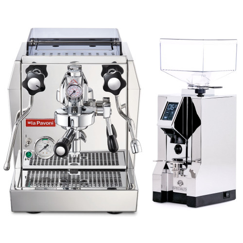PAVONI GIOTTO PREMIUM e61 1.8L Espresso Coffee Machine  - EUREKA MIGNON SPECIALITA Coffee Grinder - CHROME - Package