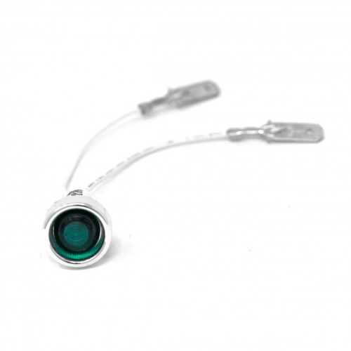 Green light / lamp - Silver Besel - Threaded - Head OD 20mm - Hole OD 12mm - 230 V - ROCKET A139904519