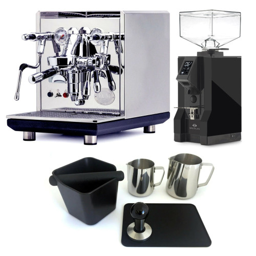 ECM SYNCHRONIKA e61 Double Boiler PID 0.75/2L Espresso Coffee Machine - V3 - STAINLESS STEEL - EUREKA MIGNON SPECIALITA Coffee Grinder - BLACK - Package - With Accessories