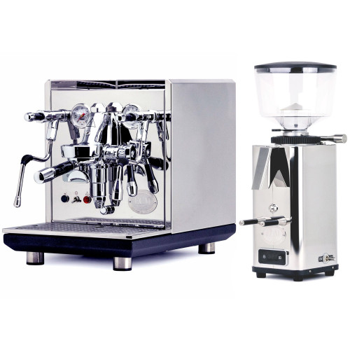 ECM SYNCHRONIKA e61 Double Boiler PID 0.75/2L Espresso Coffee Machine - V3 - STAINLESS STEEL - ECM S-Automatic 64mm Doser-less Coffee Grinder - Package