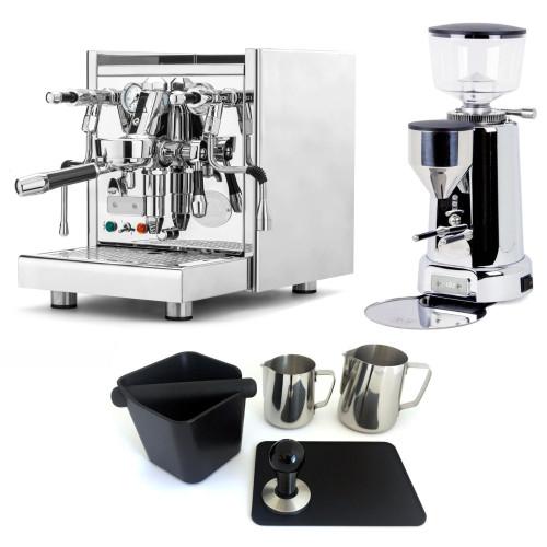ECM TECHNIKA V e61 PID 2.1L Espresso Coffee Machine - ECM TITAN Doser-less Coffee Grinder - Package - With Accessories
