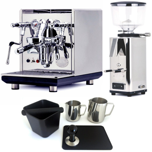 ECM SYNCHRONIKA e61 Double Boiler PID 0.75/2L Espresso Coffee Machine - V3 - STAINLESS STEEL - ECM S-Automatic 64mm Doser-less Coffee Grinder - Package - With Accessories