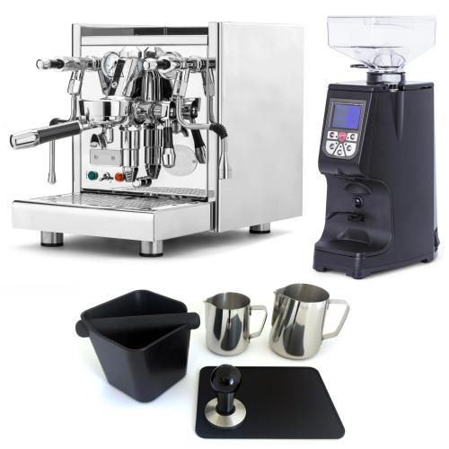 ECM TECHNIKA V e61 PID 2.1L Espresso Coffee Machine - EUREKA ATOM Coffee Grinder - BLACK - Package - With Accessories