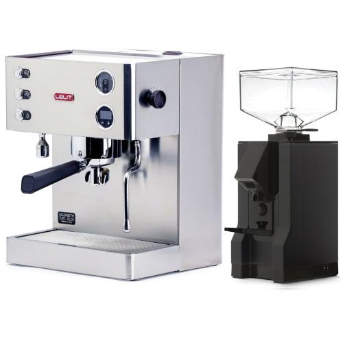 LELIT PL92T ELIZABETH Double Boiler PID Espresso Coffee Machine - V3 - EUREKA MIGNON MANUALE Coffee Grinder - BLACK - Package