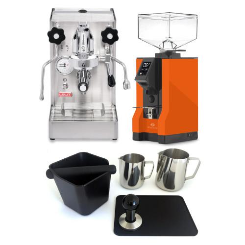 LELIT PL62X MARA X e61 1.8L Espresso Coffee Machine - EUREKA MIGNON SPECIALITA Coffee Grinder - ORANGE - Package - With Accessories