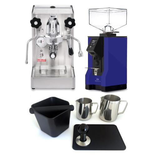 LELIT PL62X MARA X e61 1.8L Espresso Coffee Machine - EUREKA MIGNON SPECIALITA Coffee Grinder - BLUE - Package - With Accessories
