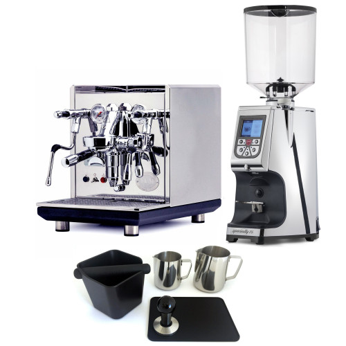 ECM SYNCHRONIKA e61 Double Boiler PID 0.75/2L Espresso Coffee Machine - V3 - STAINLESS STEEL - EUREKA ATOM 75 Coffee Grinder - CHROME - Package - With Accessories