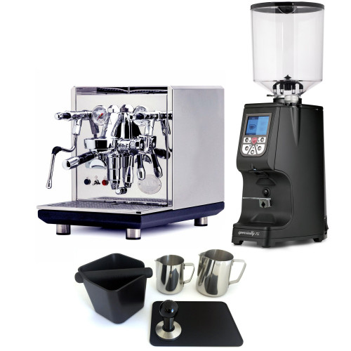 ECM SYNCHRONIKA e61 Double Boiler PID 0.75/2L Espresso Coffee Machine - V3 - STAINLESS STEEL - EUREKA ATOM 75 Coffee Grinder - BLACK - Package - With Accessories