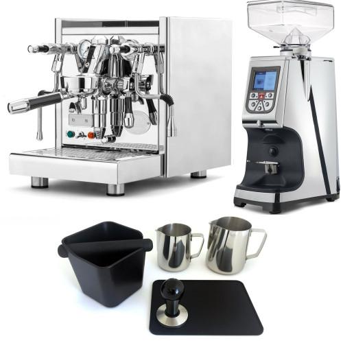 ECM TECHNIKA V e61 PID 2.1L Espresso Coffee Machine - EUREKA ATOM Coffee Grinder - CHROME - Package - With Accessories