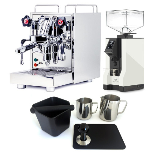 ECM MECHANIKA V SLIM e61 2.2L Espresso Coffee Machine - EUREKA MIGNON SPECIALITA Coffee Grinder - WHITE - Package - With Accessories