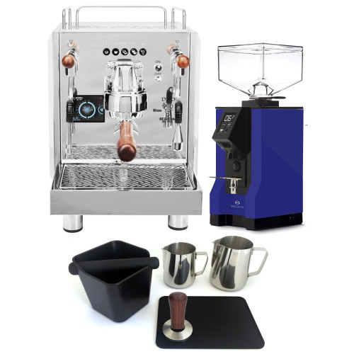 BEZZERA DUO DE Double Boiler PID 0.45/1.0L Espresso Coffee Machine - EUREKA MIGNON SPECIALITA Coffee Grinder - BLUE - Package - With Accessories