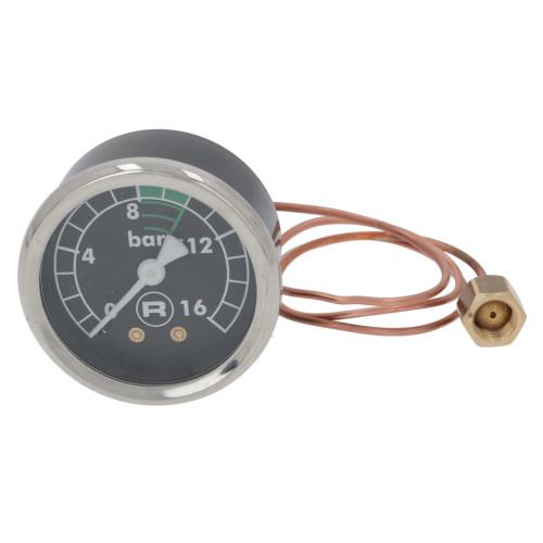 "Pump Pressure Gauge / Manometer - Black Face - 0-16 bar - OD 57mm Hole 52mm 1/8"" BSPM Connection - ROCKET - A299905010"