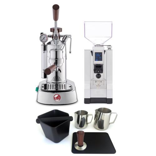 LA PAVONI PROFESSIONAL Lever 1.6L Espresso Coffee Machine - WOOD - EUREKA MIGNON SPECIALITA Coffee Grinder - CHROME - Package - With Accessories