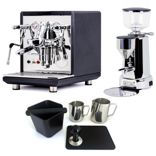 ECM SYNCHRONIKA e61 Double Boiler PID 0.75/2L Espresso Coffee Machine - V3 - MATTE BLACK ANTHRACITE - ECM TITAN Doser-less Coffee Grinder - Package - With Accessories