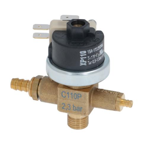 "Pressure Switch MATER XP110 0.5-1.5 BAR - Over-pressure 2.3 BAR / anti-vacuum - Combo valve - 1/4"" BSPM - C110P"
