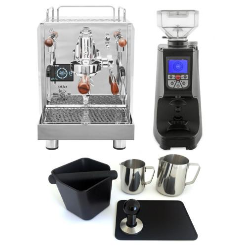 BEZZERA DUO e61 Double Boiler PID 0.45/1.0L Espresso Coffee Machine - EUREKA ATOM Coffee Grinder - BLACK - Package - With Accessories