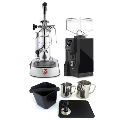 LA PAVONI EUROPICCOLA Lever 1.6L Espresso Coffee Machine - EUREKA MIGNON SPECIALITA Coffee Grinder - BLACK - Package - With Accessories