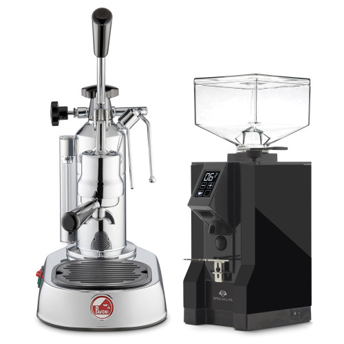 LA PAVONI EUROPICCOLA Lever 1.6L Espresso Coffee Machine - EUREKA MIGNON SPECIALITA Coffee Grinder - BLACK - Package