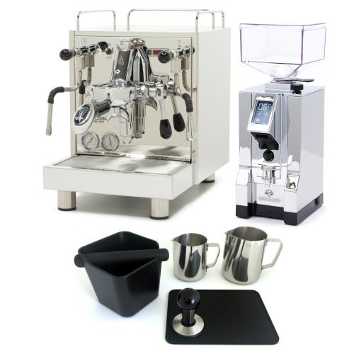 BEZZERA MAGICA e61 PID 2L Espresso Coffee Machine - EUREKA MIGNON SPECIALITA Coffee Grinder - CHROME - Package - With Accessories