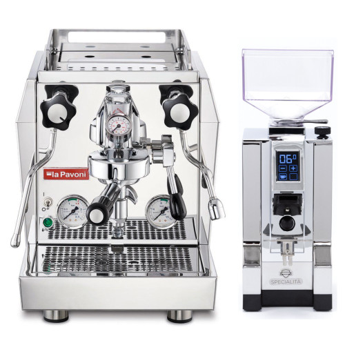 LA PAVONI GIOTTO EVOLUTION e61 1.8L Espresso Coffee Machine - EUREKA MIGNON SPECIALITA Coffee Grinder - CHROME - Package
