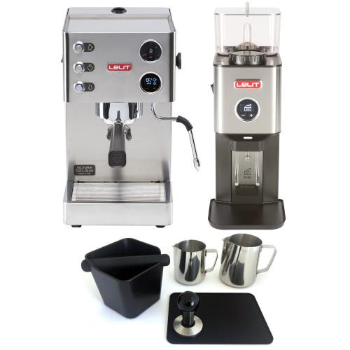 LELIT PL91T VICTORIA PID Espresso Coffee Machine - LELIT WILLIAM Coffee Grinder - Package - With Accessories