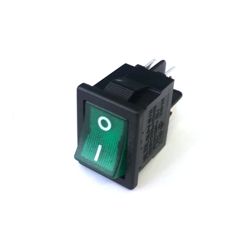 "Green Illuminated DPST Switch ""I/O"" - 21x15 mm - 16A 250V"